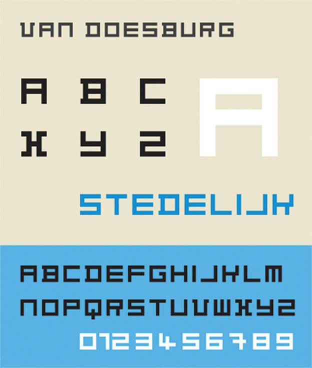 Geometrisches Alphabet von Theo van Doesburg (1919). Diese Abbildung zeigt die Architype Van Doesburg, die 1997 auf Grundlage des geometrischen Alphabets gezeichnet und digitalisiert wurde.