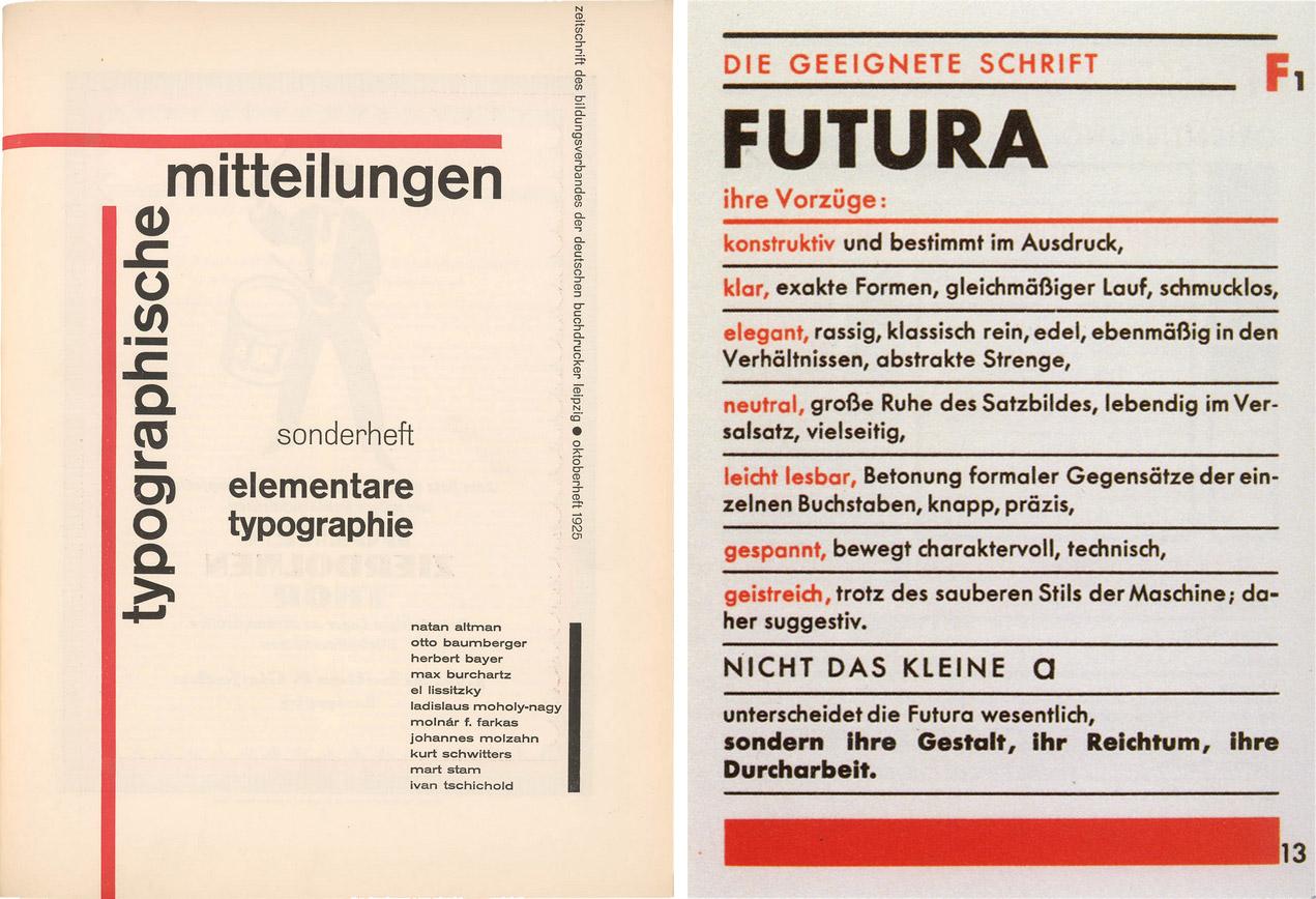 Titel des Sonderheftes Typografische Mitteilungen und Abbildung der Futura